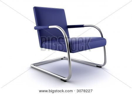 Blue Armchair Isolated On White Background