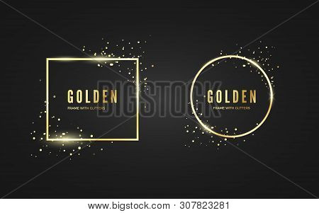 Abstract Golden Frame With Glitter And Sparcle Effect For Banner And Poster. Gold Square Ans Circle