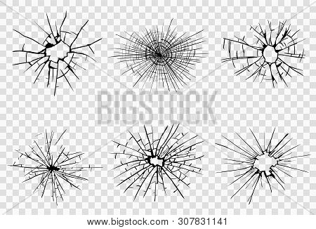 Broken Glass, Cracks, Bullet Marks On Glass. High Resolution. Vector Illustration. Texture Glass Wit
