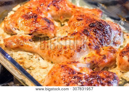 Oven Roasted Chicken Legs Garlic Mayonnaise Yogurt Sauce