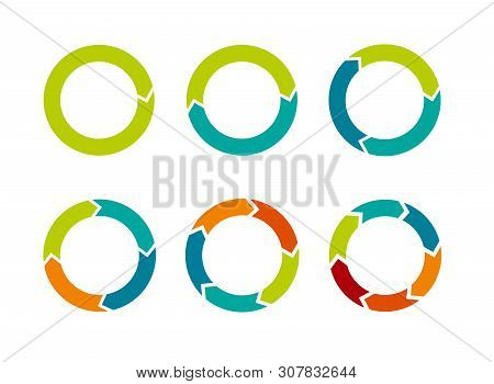 Multicolored Arrows In Circular Motion. Arrow Combinations. Rotation Arrows. Circle Arrow Icon. Recy
