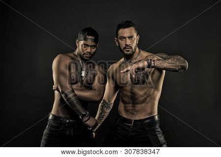 African And Hispanic Men With Sexy Bare Torso. Men With Fit Tattooed Body. Fashion Models With Tatto