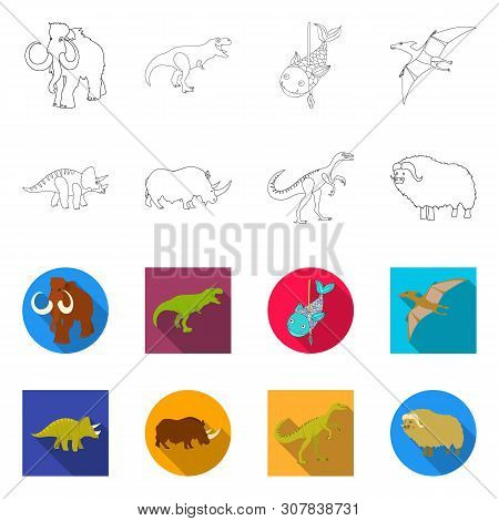 Vector Illustration Of Animal And Character Sign. Collection Of Animal And Ancient Vector Icon For S