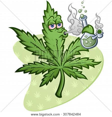 A Cheerful Pot Vector Cartoon Character Getting High And Smoking A Glass Water Bong With A Packed Bo