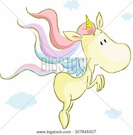 Flying Cute Unicorn - Vector Illustration Isolated On White
