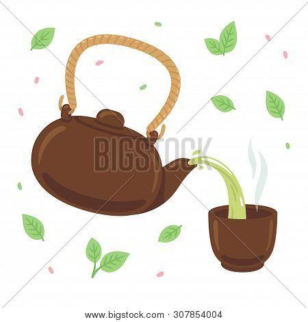 Japanese Or Chinese Green Tea Drawing. Pouring Tea From Teapot Into Steaming Cup, Surrounded By Tea