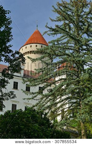State Castle Konopiste In Spring, Behind Trees