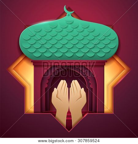 Prayer Hands In Front Of Mosque Entrance. Paper Islam Church With Palms, Muslim Palace With Crescent