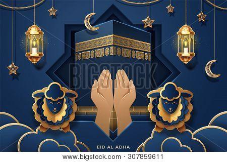 Prayer Palms Or Hands In Front Of Kaaba For Eid Al-fitr Or Al-adha, Ul-adha Greeting Card. Mecca Ka