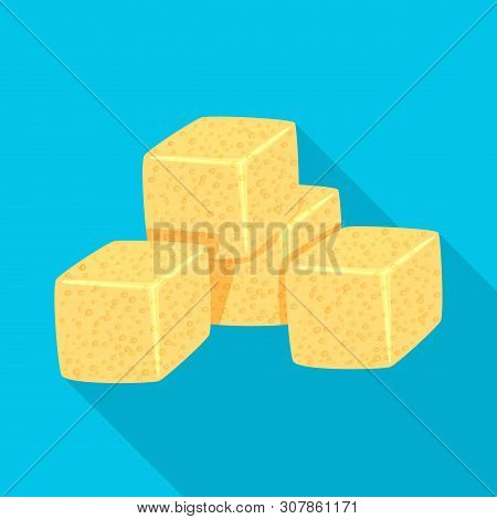 Vector Design Of Croutons And Bread Logo. Set Of Croutons And Bowl Stock Symbol For Web.