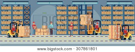 Warehouse Interior. Industrial Factory Worker Working In Stockroom Of Storehouse. Forklift And Deliv
