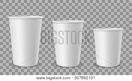 White Paper Cups. Cup For Drinks, Lemonade Juice Coffee Tea Ice Cream Container In Different Size. E
