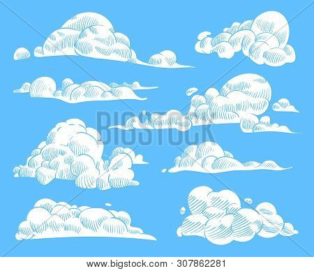Hand Drawn Clouds. Sketch Cloudy Sky, Vintage Engraved Curled Cloud. Doodle Nature Heaven, Outline W