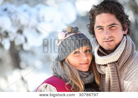 Couple walking outside on a winter's day