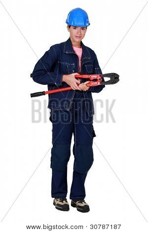 Woman with boltcutters
