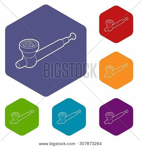 Hashish Pipe Icons Vector Colorful Hexahedron Set Collection Isolated On White