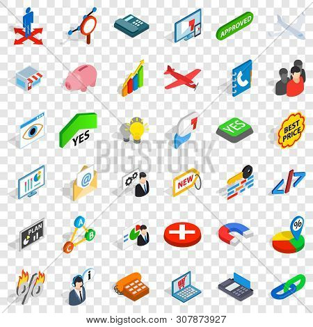 Bargain Icons Set. Isometric Style Of 36 Bargain Vector Icons For Web For Any Design