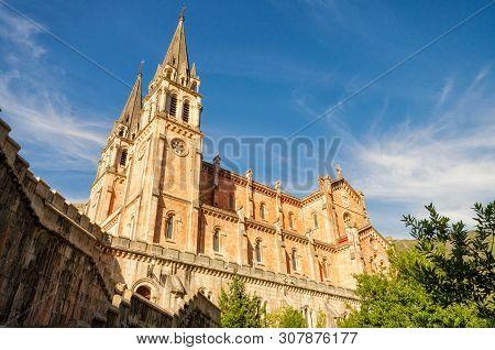 Covadonga Catholic Sanctuary Basilica Church In Cangas De Onis, Asturias, Spain .