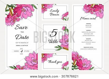Wedding Floral Invitation Set With Peony Flowers And Lily.
