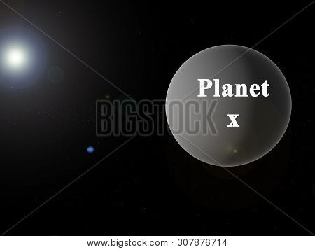 Artwork From Hypothetical Planet X In Our Solar System, Behind Neptune. With Lensflare