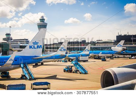 Amsterdam, Netherlands - April 11, 2012. Klm Airplanes Parked On Schiphol Airport