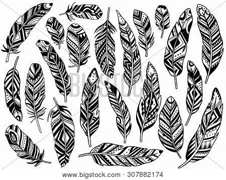 Tribal Feathers Set Decoration. Ethnic Boho Style Hand Drawing.