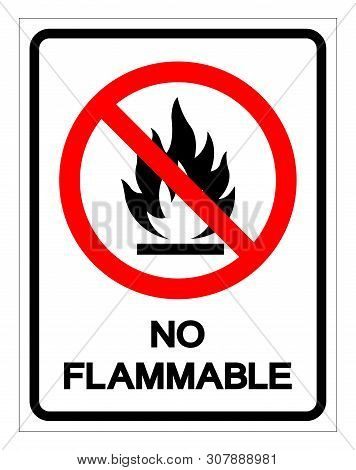 No Flammable Symbol Sign, Vector Illustration, Isolate On White Background Label .eps10