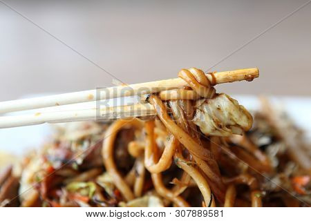 Japanese Cuisine, Fried Noodles Yakisoba In Closeup