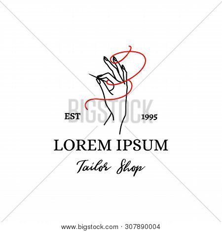 Logo Tailor Shop. Vector Emblem Of A Female Hand With A Needle And A Red Thread Outline Style . Logo