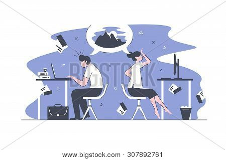 Smart office workers vector illustration. Overworked business people sitting in modern bureau and dream for vacation on top of tourist mountains to slide down with skis flat style concept poster