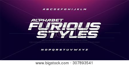 Sport Modern Italic Alphabet Font. Typography Fast And Furious Style Fonts For Movie Technology, Spo