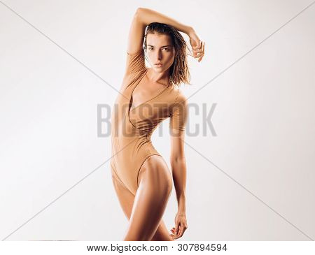That Bodysuit Is Very Slimming. Sexy Fitness Model Look Fit And Slim. Slimming Diet And Dieting For