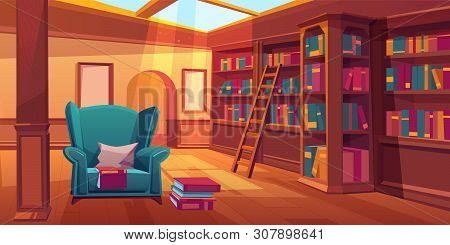 Place For Reading Books, Home Library Interior, Empty Room With Wooden Bookshelves, Ladder, Cozy Arm