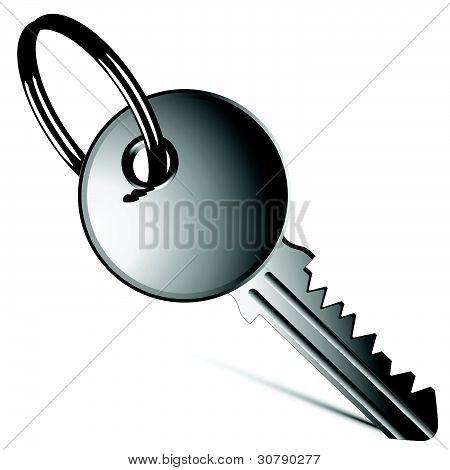 Silver Key Against White