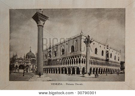 """ITALY - CIRCA 1910: A picture printed in Italy shows image of Palazzo Ducale, Vintage postcards """"Ita"""