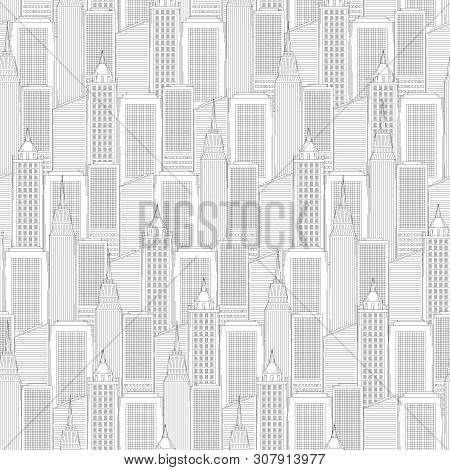Urban Street And Building In City Seamless Pattern. Shops And High-rise Houses Line Art Style Vector