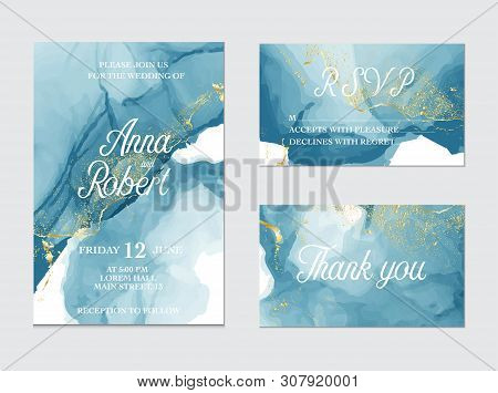 Marble Modern Texture In Blue Color. Alcohol Ink Splash With Isolated Gold Foil Dots. Trendy Pastel