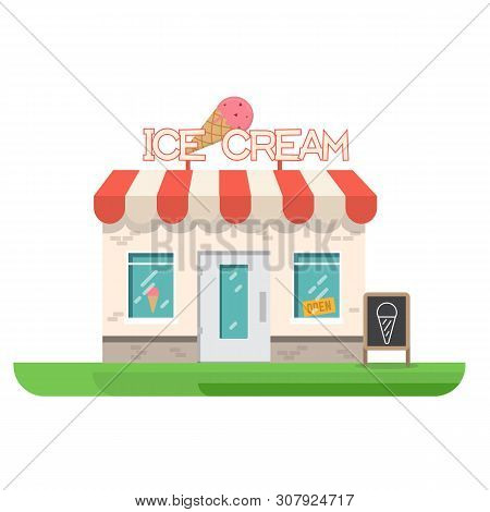 Ice Cream Store Building. Store Building Near Park And City. Restaurant With Ice Cream. Flat Vector