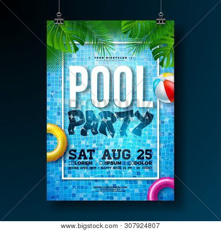 Summer Pool Party Poster Design Template With Palm Leaves, Water, Beach Ball And Float On Blue Ocean
