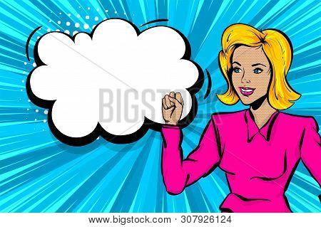 Cartoon Pop Art Style Woman Right. Retro Pin Up Blonde Girl Superhero. Wife Rights. Comic Book Halft