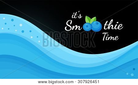 Blueberry Smoothie Fruit Cocktail Flat Vector Illustration. Tasty Natural Fruit, Blue Wave Layers Of