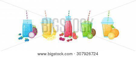 Fresh Fruit Smoothie Shake Cocktail Set Vector Illustration. Isolated On White Background Collection