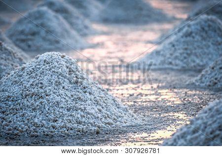 Sea Salt Farm In Thailand. Organic Sea Salt. Evaporation And Crystallization Of Sea Water. Raw Mater