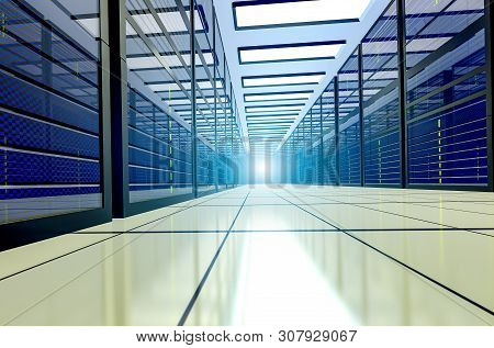 Shot Of Corridor In Working Data Center Full Of Rack Servers And Supercomputers. Point Of View. 3d R