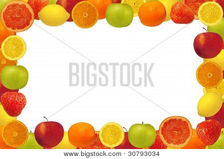 Frame From Fruit And Berries With A White Background