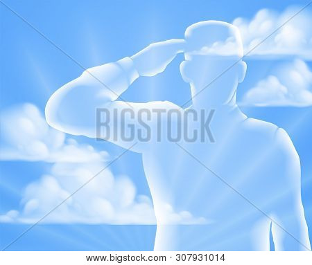 A Soldier Saluting With Cloud Sky Background, Design For Memorial Day Or Veterans Day