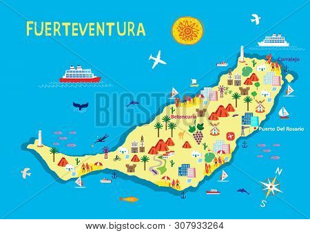 An Illustration Of The Island Of Fuerteventura Whiich Is Part Of The Spanish Canary Islands And Popu