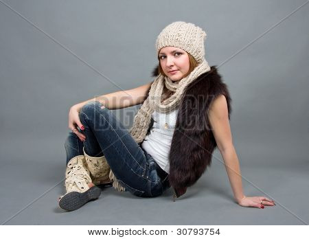 the girl in a winter cap