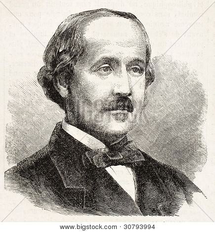 Albert de Broglie old engraved portrait (French nobleman). Created by Chenu after photo of Disderi, published on L'Illustration, Journal Universel, Paris, 1863