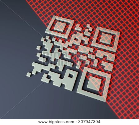Close Up Of Qr Code Scanning, 3d Render, Red Grid Scanning Barcode, 3d Illustration